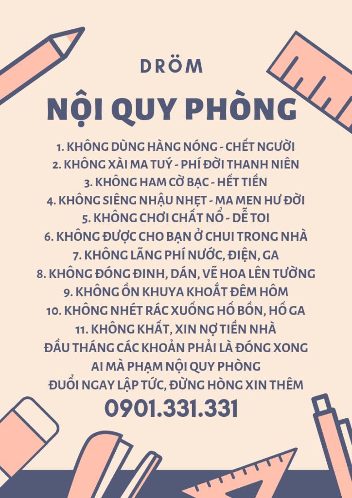 Nội quy DRÖM - Ký túc xá cho thuê quận Bình Thạnh